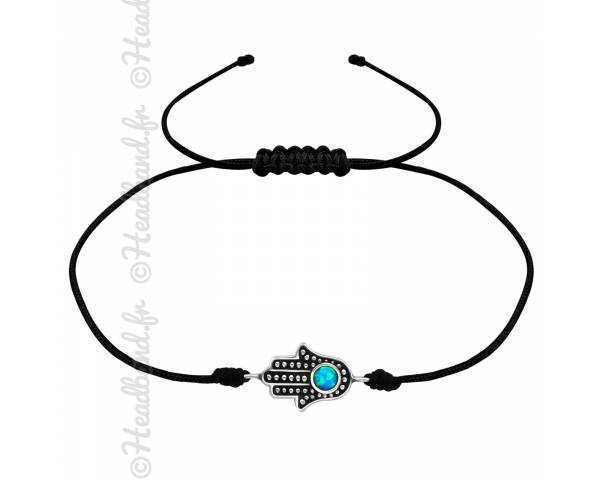 Bracelet cordon noir pendentif main de Fatma argent