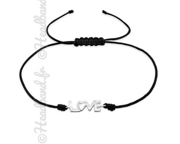 Bracelet cordon noir inscription love argent