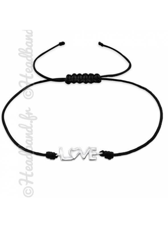 Bracelet cordon noir inscription love argent