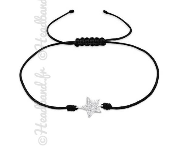 Bracelet cordon ajustable étoile strassée argent