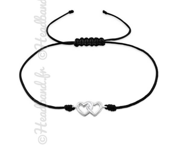Bracelet cordon noir double coeur argent