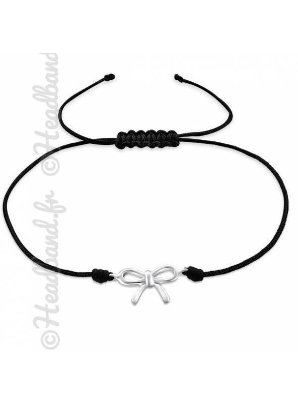 Bracelet cordon noir pendentif noeud argent