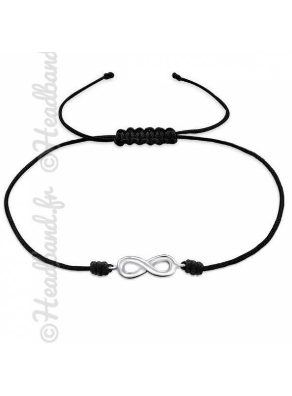 Bracelet cordon noir signe infini argent