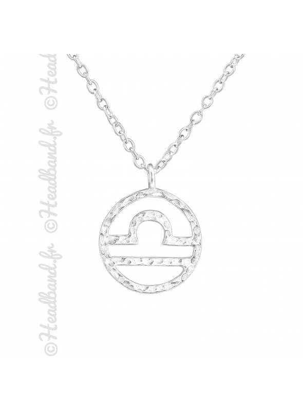 Collier argent massif signe astro balance