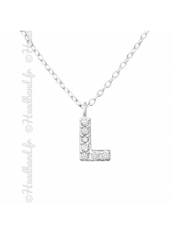 Collier argent strass zirconium lettre L