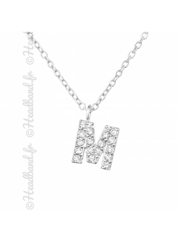 Collier argent strass zirconium lettre M