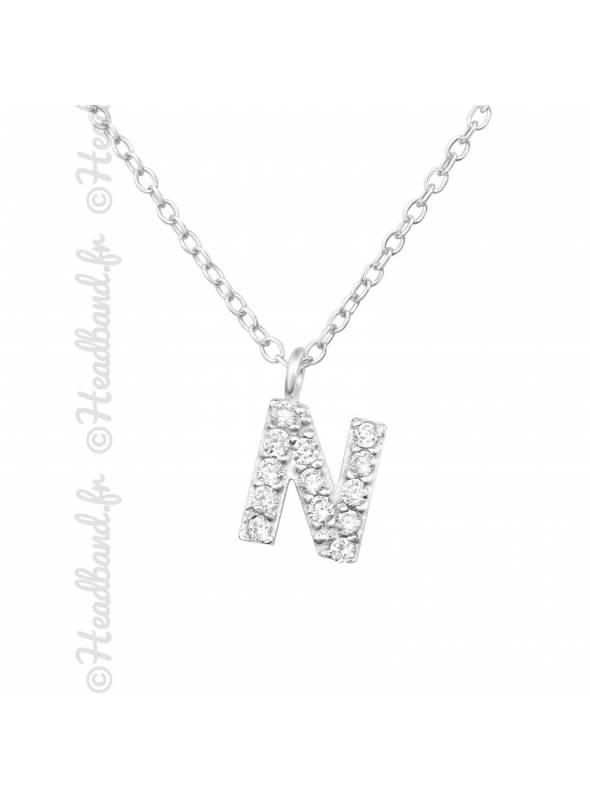 Collier argent strass zirconium lettre N