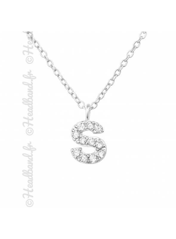Collier argent strass zirconium lettre S