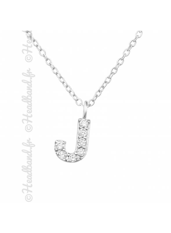Collier argent strass zirconium lettre J