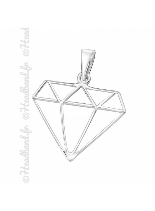 Pendentif motif diamant argent 925