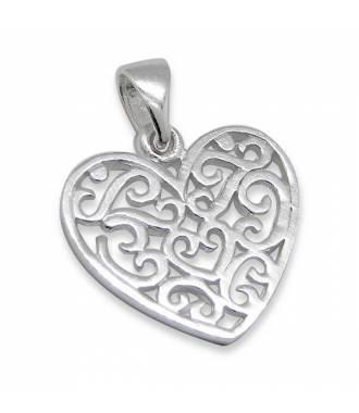 Pendentif coeur arabesques argent 925