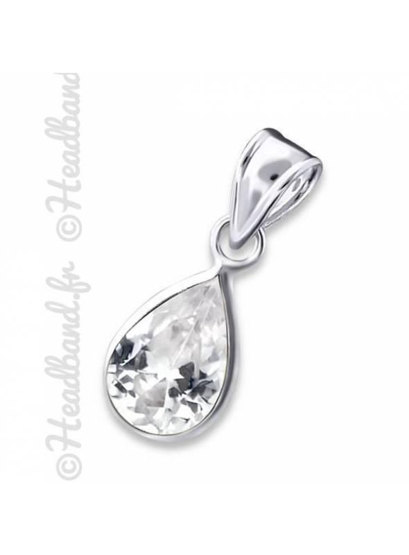 Pendentif cristal ovale blanc zirconium argent 925