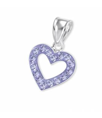 Pendentif argent massif coeur zirconium violet