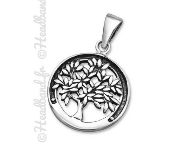 Pendentif médaillon arbre de vie argent 925