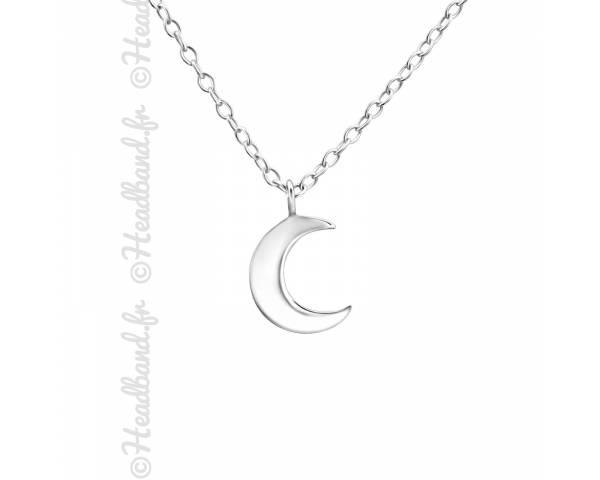 Chaîne pendentif croissant de lune argent 925