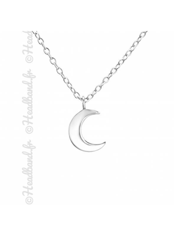 Chaîne pendentif forme lune argent 925