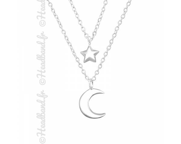 Collier double rang lune et étoile argent 925