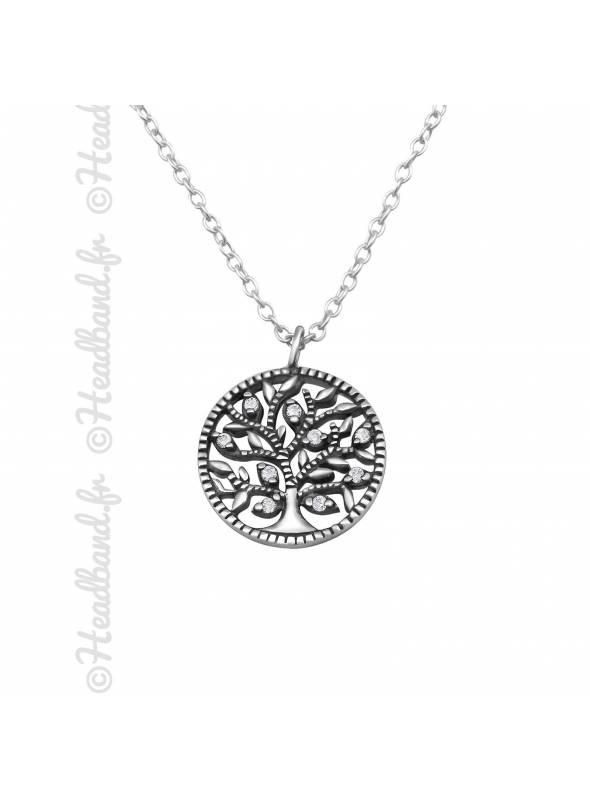 Collier médaillon vintage arbre de vie argent 925