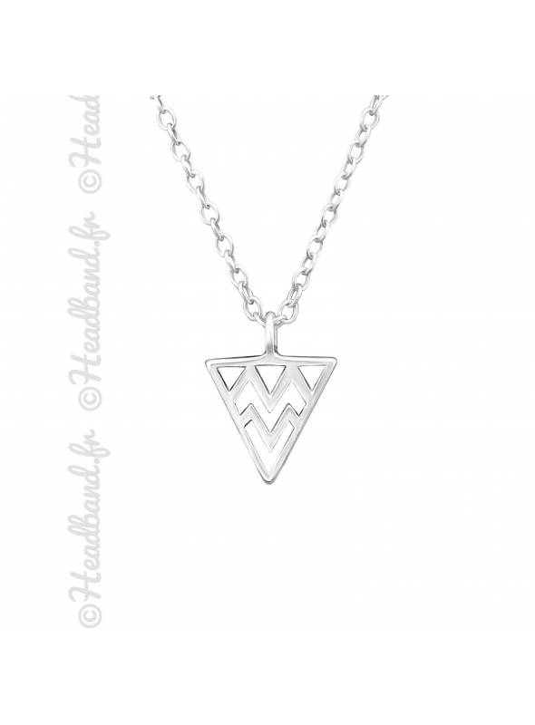 Collier triangle motif aztèque argent 925