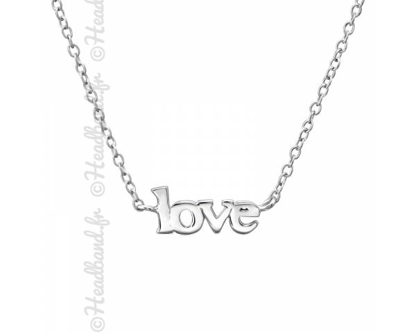 Collier inscription love argent massif