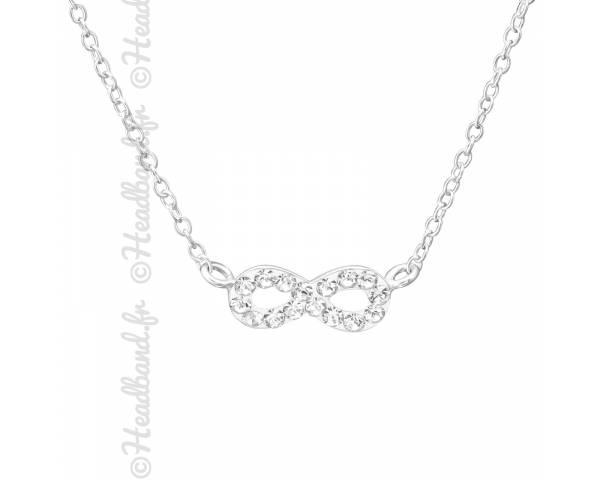 Collier signe infini cristaux blanc argent massif