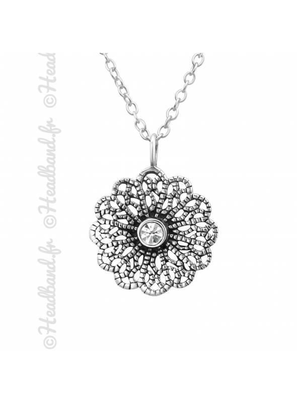 Collier rosace vintage cristal blanc argent 925