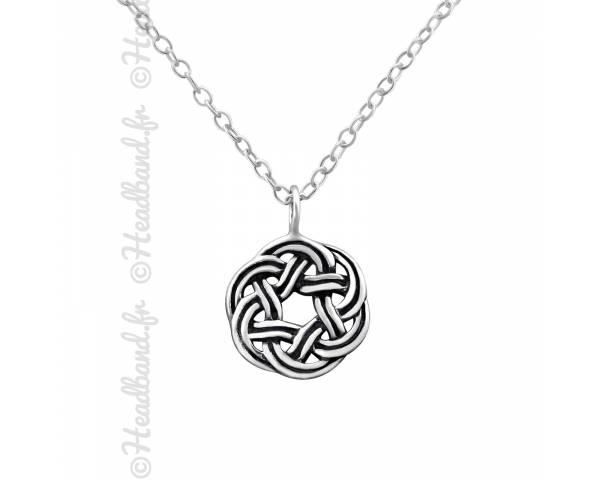Collier médaillon noeud celtique argent massif