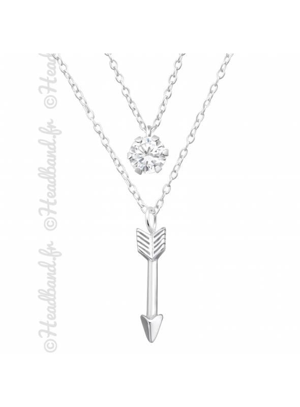 Collier double chaîne flèche et cristal argent 925