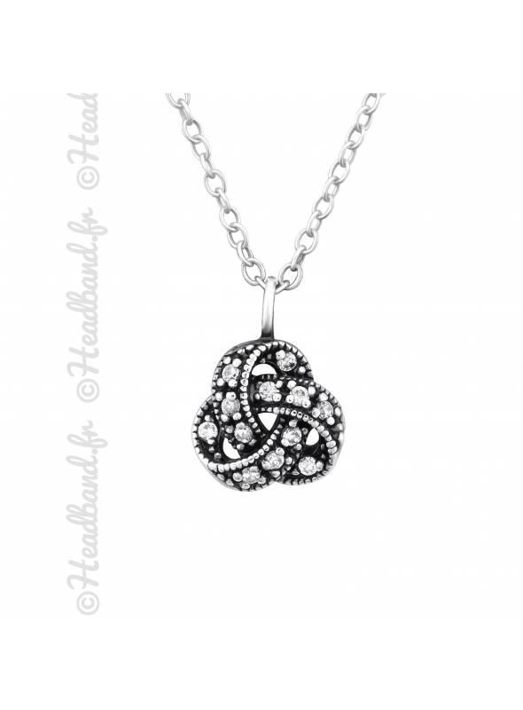 Collier pendentif celtique vieilli cristaux argent