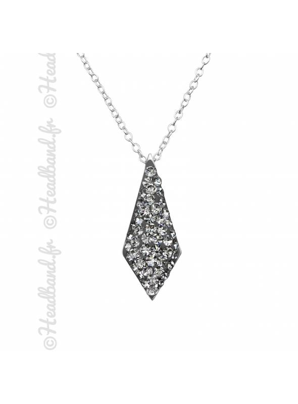 Collier pendentif cravate cristaux black argent