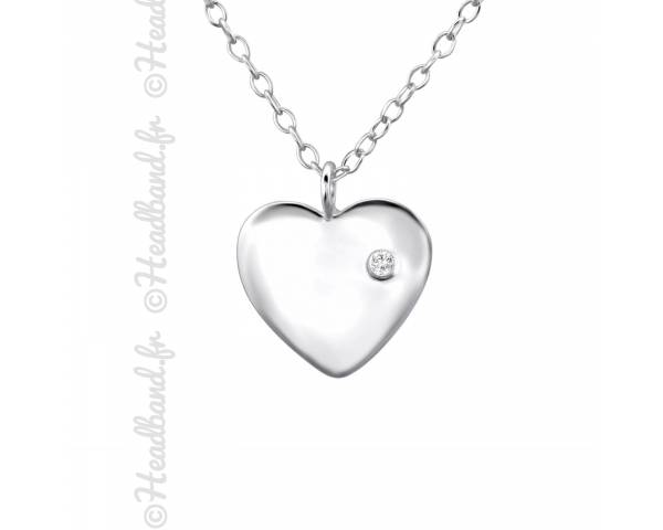 Collier médaillon coeur strass blanc argent 925