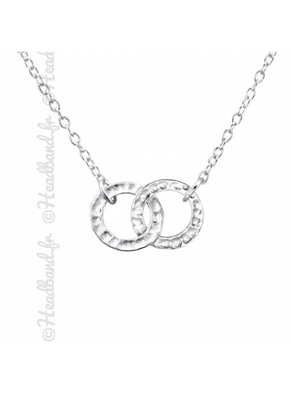Collier pendentif cercles entrelacés argent 925