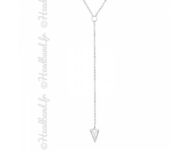 Collier géométrique forme Y argent