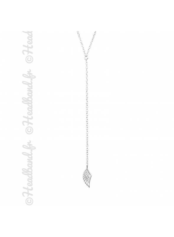 Collier forme Y aile pendentif d'ange argent 925