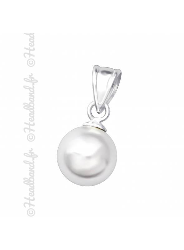 Pendentif boule strass blanc argent 925