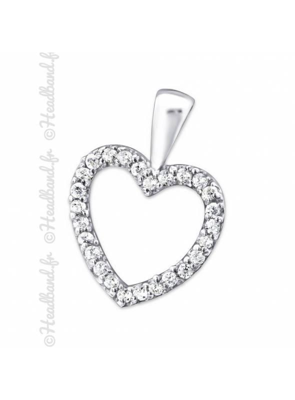 Pendentif coeur zirconium blanc argent 925