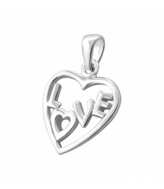 Pendentif coeur inscription love argent 925
