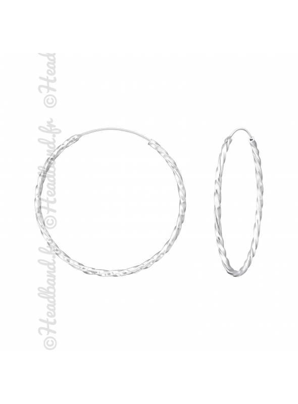 Créoles torsadées argent massif 30 mm