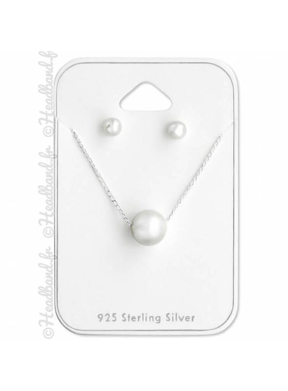 Parure femme argent 925 perle blanche