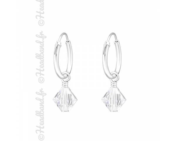 Créoles argent cristal à facettes Swarovski® blanc