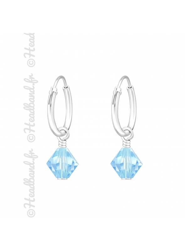 Créoles argent cristal à facettes Swarovski® aquamarine