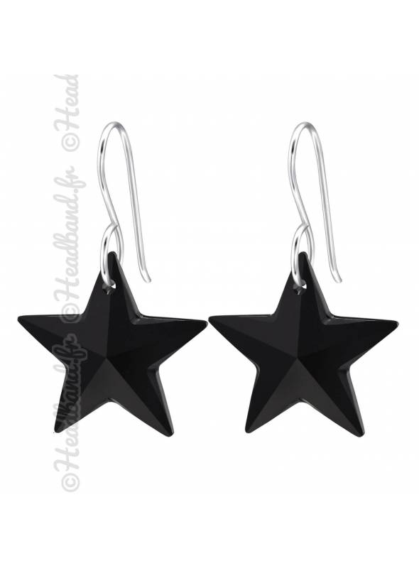 Boucles d'oreilles cristal étoile Swarovski® jet