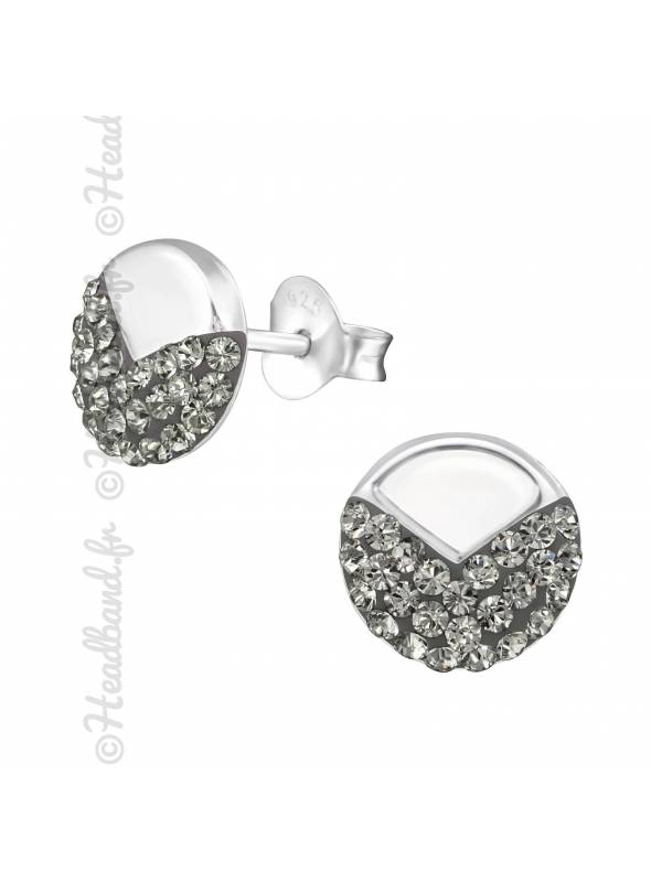 Clous d'oreilles chevrons cristal Swarovski® black diamond