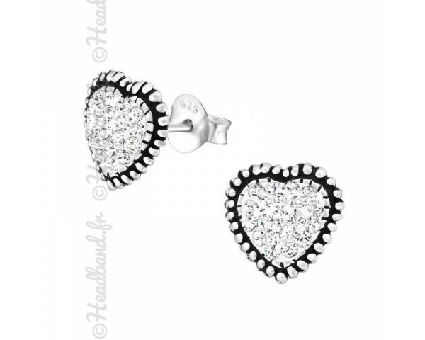 Clous d'oreilles coeur pavage cristaux Swarovski® blanc