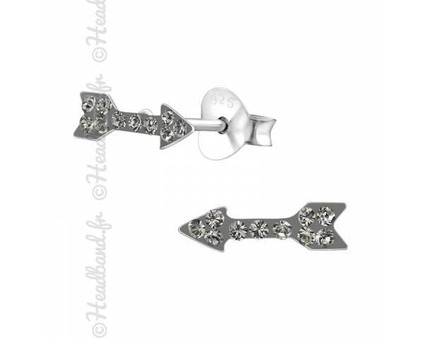 Clous d'oreilles flèche cristaux Swarovski® black diamond