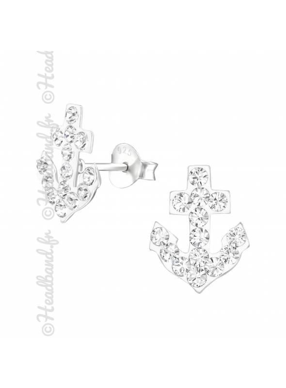 Clous d'oreilles ancre marine cristaux Swarovski® blanc