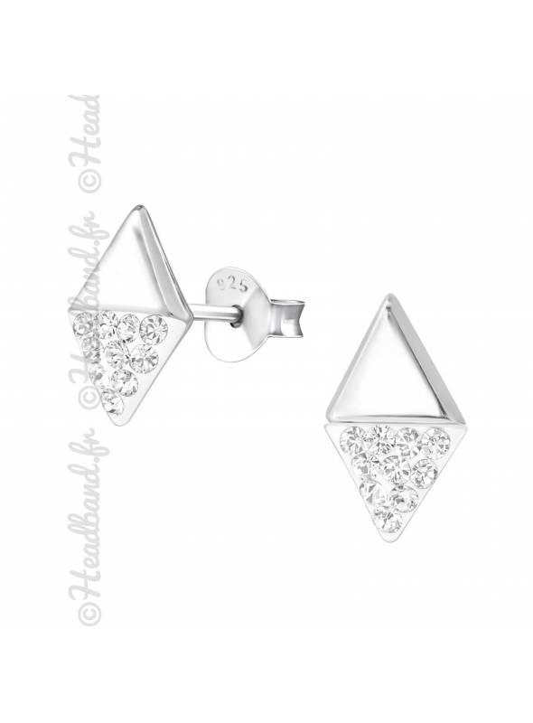 Clous d'oreilles marquise cristaux Swarovski® blanc