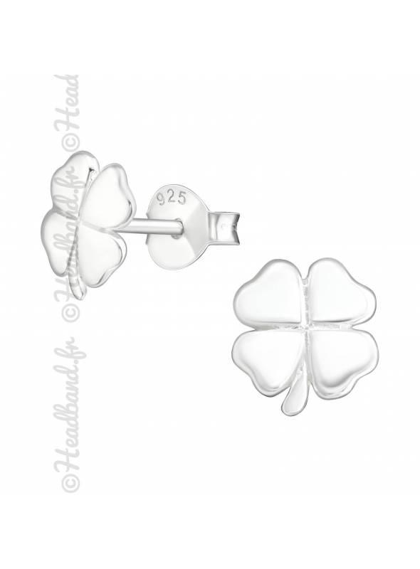 Clous d'oreilles avec trèfle 4 feuilles argent 925