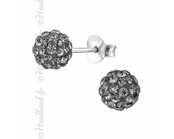 Clous d'oreilles boule strass black diamond argent 925