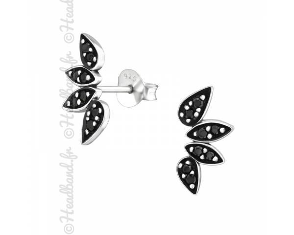 Clous d'oreilles black spinel argent 925